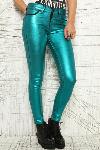 jeans clothes green metallic pants