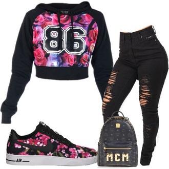 sweater nike nike air force 1 floral roses pink black number tee shirt
