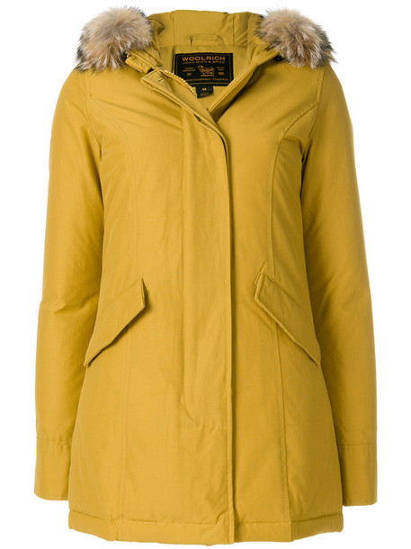 Woolrich coat fur fox women cotton yellow orange