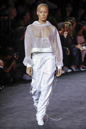 sweater hoodie sweatshirt see through mesh pants sweatpants adwoa aboah nyfw 2017 ny fashion week 2017 fenty x puma
