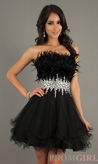 Prom Dresses, Celebrity Dresses, Sexy Evening Gowns - PromGirl: Short Strapless Black Dress