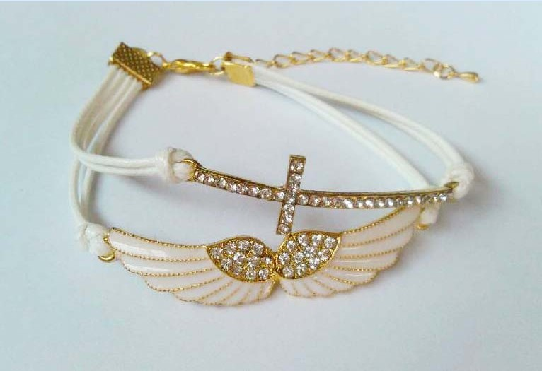 Delicate inlaid crystal heart angle wings cross handmade braid bracelets for girls
