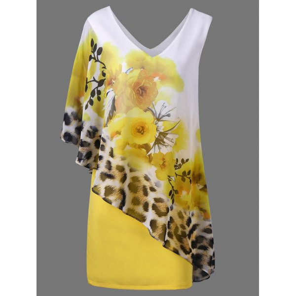 Rosewholesale V Neck Floral and Leopard Capelet Dress in yellow