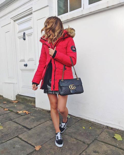 coat down jacket tumblr red coat winter coat bag black bag sneakers skirt mini skirt black leather skirt leather skirt