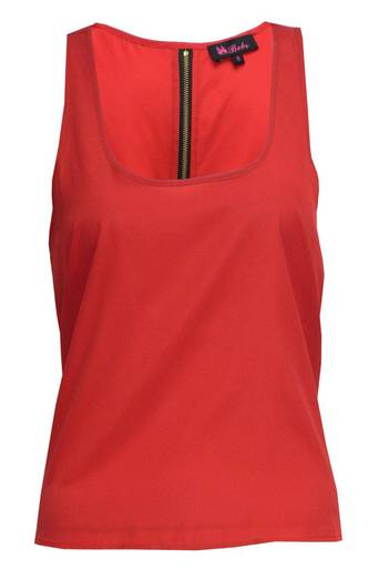Womens Sian Zip Back Satin Vest in Red | Pop Couture
