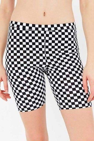 shorts checkered white black