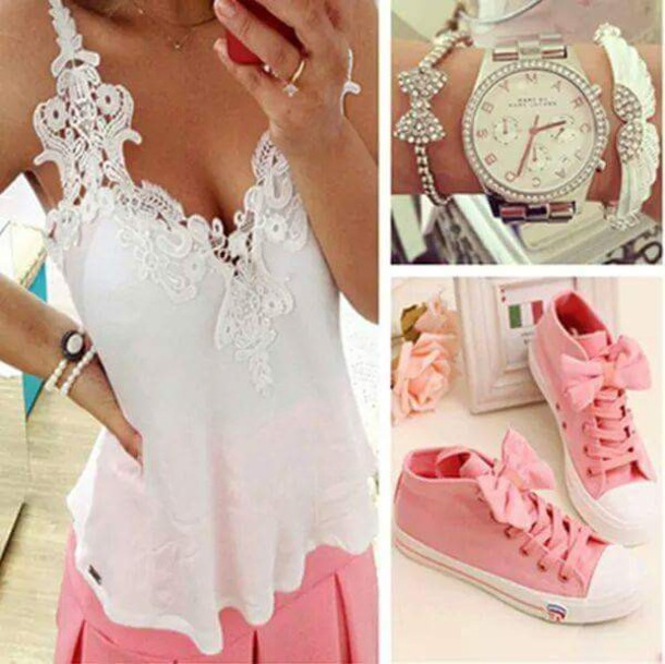 shoes pink shoes pink bow white crop tops bracelets white watch