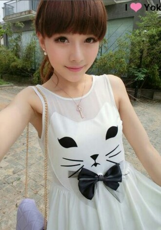 dress kitten print bowtie black and white cats japanese japan kawaii cute lovely black white jewels