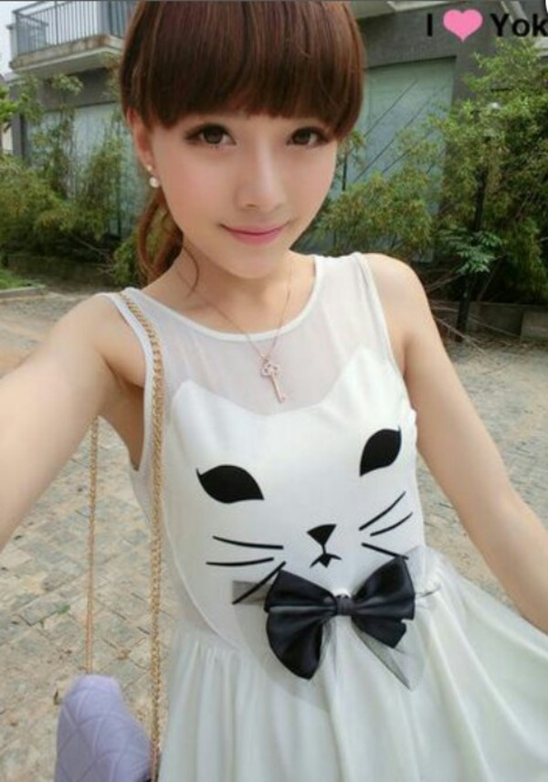 dress kitten print bowtie black and white