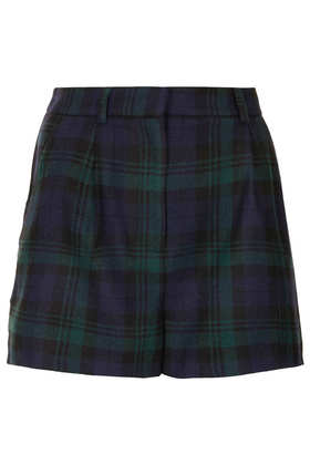 Green Check Wool Shorts - Topshop