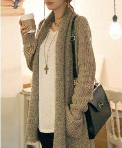 Loose plush knit cardigan sweater