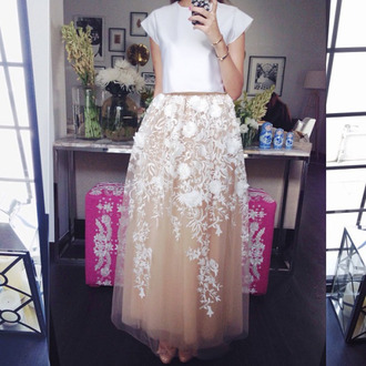 skirt lace floral skirt embroidered dress dress formal dress floral dress white floral dress