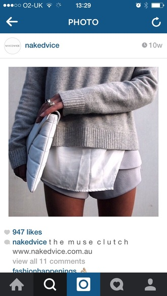 sweater grey love hot tumblr white bag fashion grey sweater tumblr outfit want love cute legs