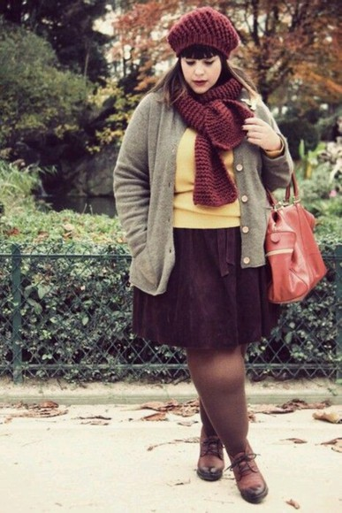 scarf cardigan burgundy boots tights maroon/burgundy plus sizes curvy lemongrass
