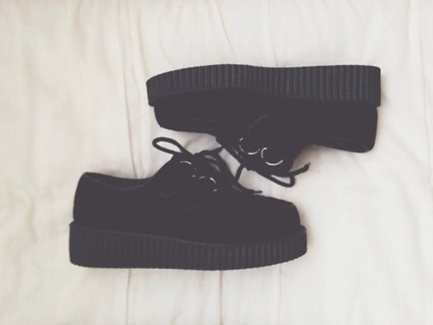 shoes grunge pastel goth goth uniform black shoes grunge shoes platform shoes creepers black 90s style platform shoes