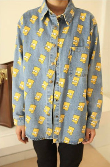 button up shirt bart simpson oversized shirt
