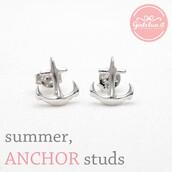 jewels,jewelry,earrings,anchor earrings,anchor studs,arrow,summer,summer earrings