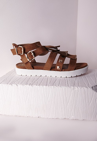 shoes fringe shoes flat gladiator sandals studded gladiators flat sandals sandals missguided