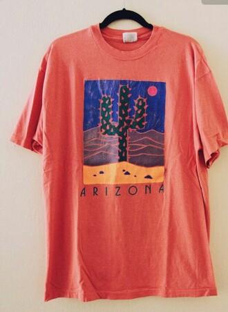 shirt arizona t-shirt orange blue cactus