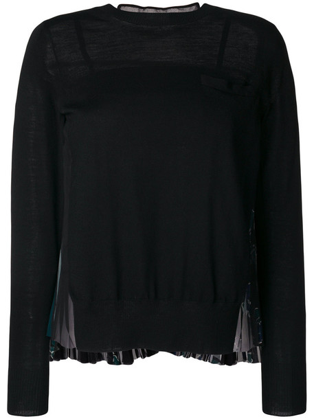 Sacai jumper pleated back women floral black wool sweater