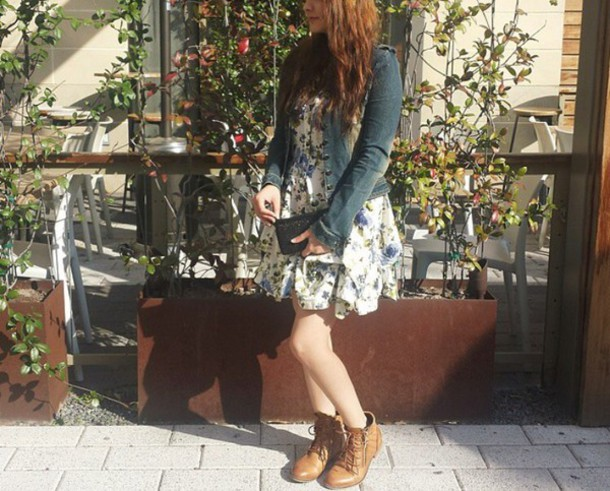 shoes cute brown shoes floral dress jeans jean jackets aldo boots
