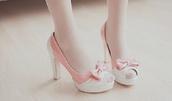 shoes,high heels,bows,kawaii,ulzzang,korean fashion,sweet,kawaii shoes,cute,baby pink,cute high heels,asian,girly,korean style,baby pink high heels,peep toe pumps,pretty,lace,high heal,pastel pink,pink white high heels