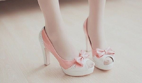 shoes high heels bows kawaii ulzzang ulzzang korean fashion sweet kawaii shoes cute baby pink pretty girly lace