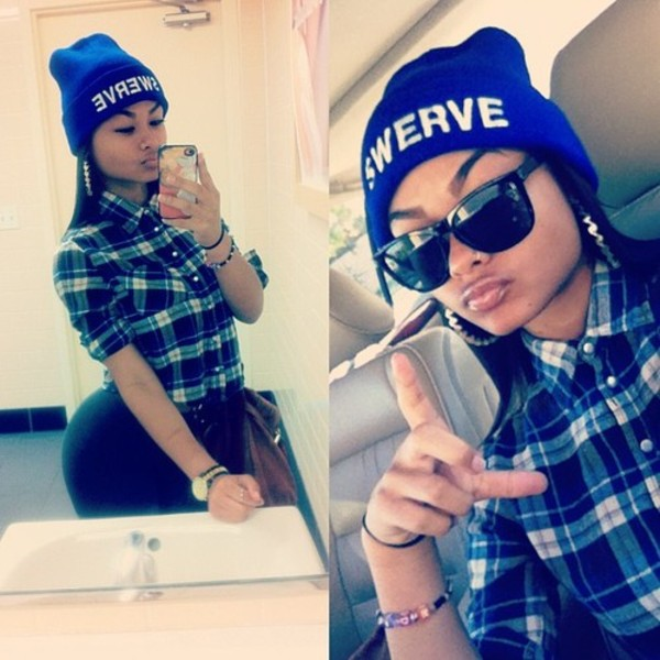 shirt plaid blue blue shirt pattern hat beanie blue hat