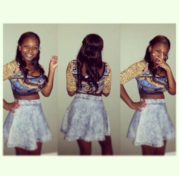 short skirt denim skirt tight half sleeve shirt