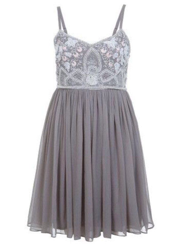 dress miss selfridge beaded babydoll dress bodice tulle skirt silver