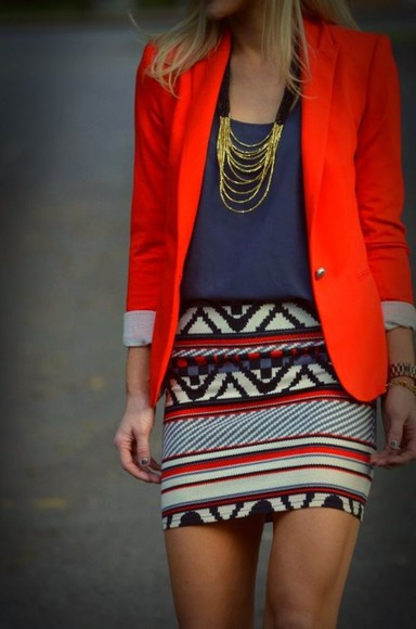 skirt blazer blouse tribal skirt jewels gold necklace jacket red royal blue aztec clothes aztec print skirt geometric jacket, skirt, jewelry color orange tribal pattern colors outfit set