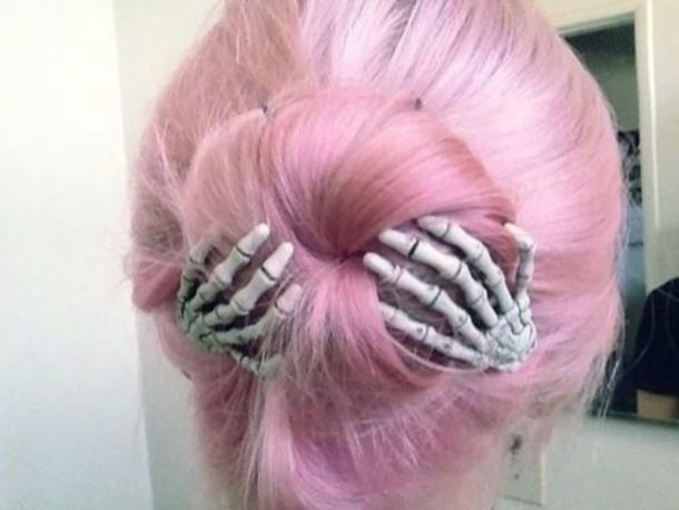 jewels pink skeleton hair pink hair hat pastel goth hair bow hair clip soft grunge hair accessory kawaii bones pastel pastel hair