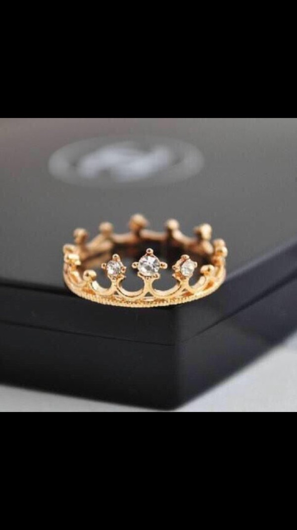 jewels gold ring crown ring dimonds
