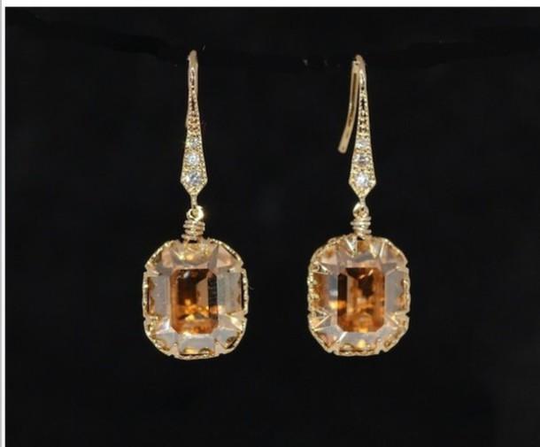jewels gold brown earrings