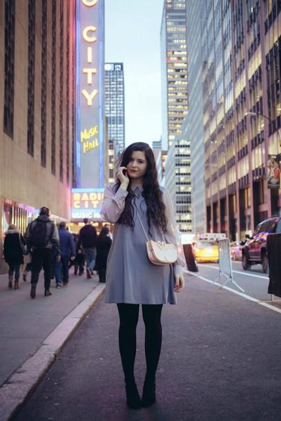 noelles favorite things blogger collared dress light blue dress bag jewels