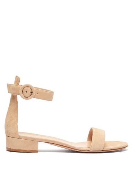 Gianvito Rossi - Portofino 20 Block Heel Suede Sandals - Womens - Nude