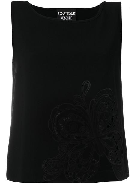 Boutique Moschino - lace detail tank top - women - Triacetate/Polyester - 42, Black, Triacetate/Polyester