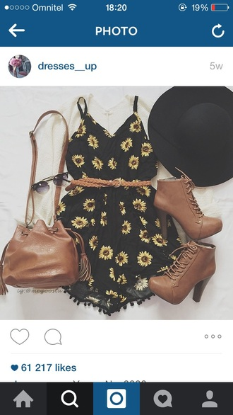 jumpsuit black yellow flowers