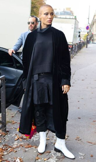 coat skirt ankle boots adwoa aboah model off-duty streetstyle paris fashion week 2017 pants sweater turtleneck sweater turtleneck fall outfits