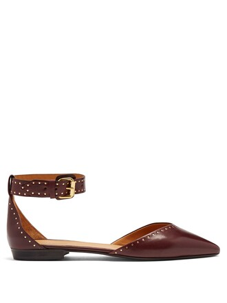 embellished flats leather flats leather burgundy shoes