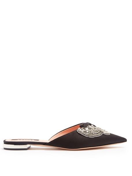 embellished shoes satin black