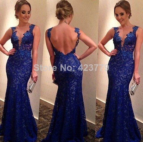 Aliexpress.com : Buy High Quality Royal Blue Backless vestidos de festa Sexy Boat Neck Sleeveless Long Lace Mermaid Prom Dress 2014 from Reliable dress glitter suppliers on 27 Dress