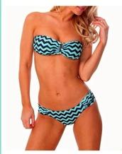 swimwear,blue,bandeau bikini,stripes,bikini,light blue