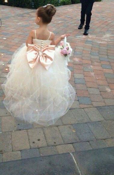 gold ivory dress fluffy little girl dress