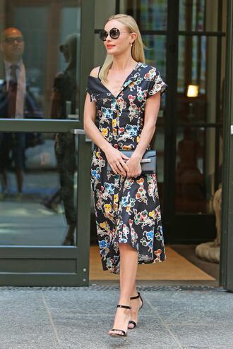 shoes dress midi dress streetstyle nyfw 2017 ny fashion week 2017 kate bosworth