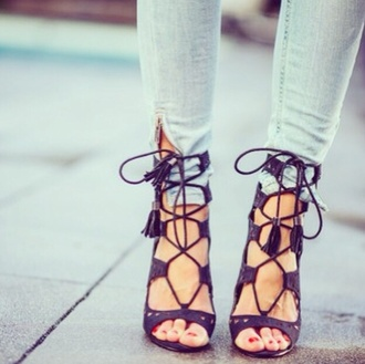 shoes strappy heels cut out shoes lace up black high heels love fashion struck streetstyle