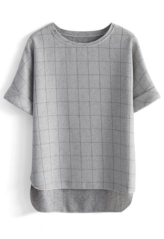 top textured grids hi-lo grey top chicwish hi-lo top grey top grid top chicwish.com