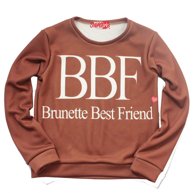 Brunette Best Friend fleece sweater - swagirls