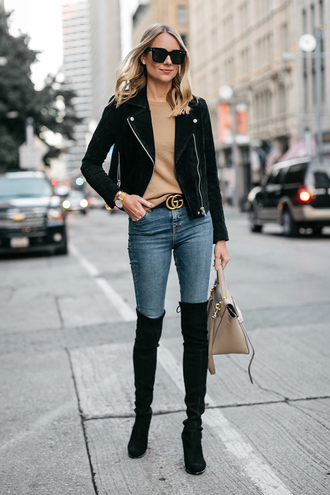 jacket black jacket suede jacket nude sweater tumblr suede sweater denim jeans blue jeans boots ankle boots black boots sunglasses fashionjackson blogger shoes bag jewels