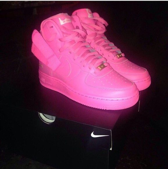 shoes pink air force ones hightops